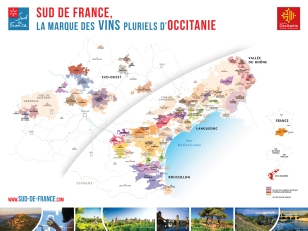Map of wine regions in Occitanie. courtesy of www.sud-de-france.com
