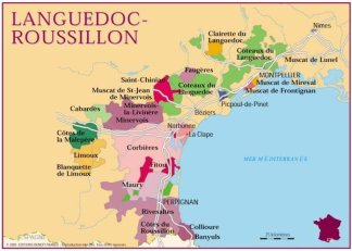 Languedoc wine region - see if you can find Corbieres and Minervois. (map courtesy of www.chemins-vignerons.com)