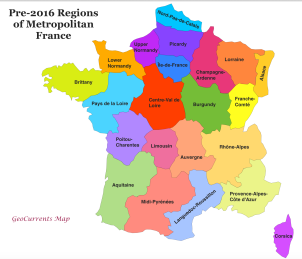 Regional map of France before the recent simplification showing 22 regions. (maps courtesy of: www.geocurrents.info/geopolitics)