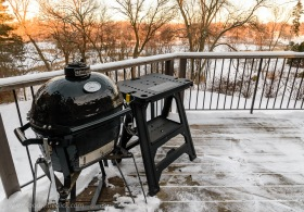Reality of smoking in Minnesota in the winter: mid-day temperature 5 deg. F. I shoveled the snow off the deck in order to fire up the grill