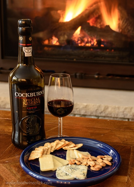 Cockburn's Special Reserve Port and cheeses by the fire