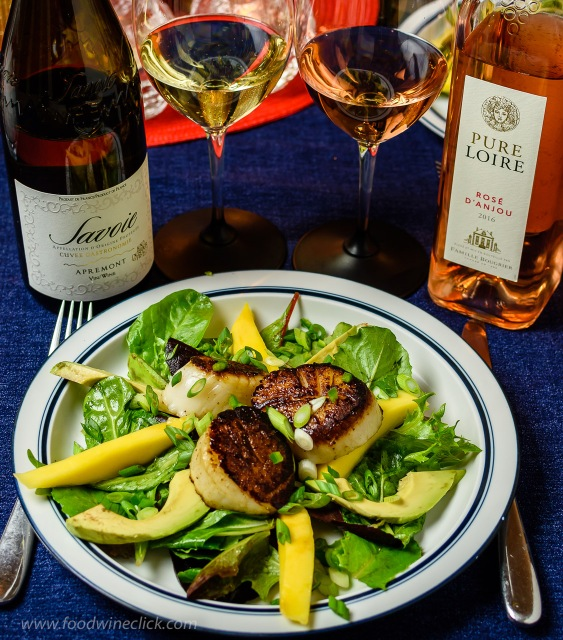 Savoie and Loire valley wines with seared scallop salad