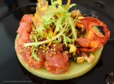 We'll take tartare or crudo in any form; I think this is salmon