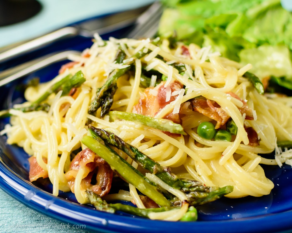 spaghetti carbonara with asparagus and peas at www.foodwineclick.com
