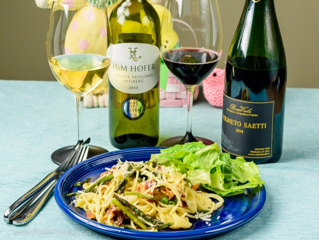 spaghetti carbonara with asparagus and peas. Served with Gruner Veltliner and Dry Lambrusco
