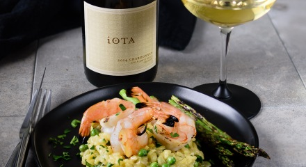 iOTA Cellars Chardonnay with Shrimp and Pea Risotto Milanese at www.foodwineclick.com