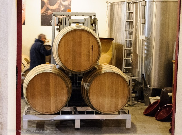 There is always some activity in the winery, moving barrels today.