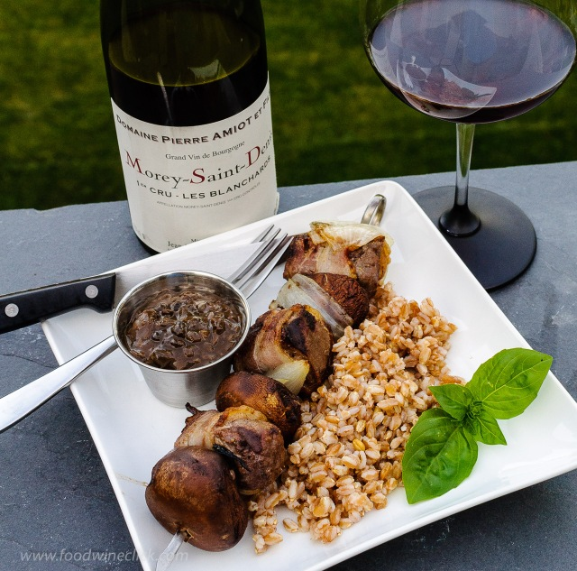Beef Bourguignon-on-a-stick served with Pierre Amiot et Fils Morey-Saint-Denis red Burgundy