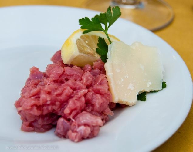 Steak tartare at La Fontanazza in La Morra, Italy