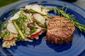 We tested two Côtes de Bordeaux wines with a porcini rubbed tenderloin with a barley/asparagus/radish salad
