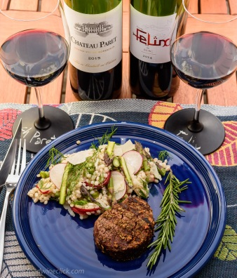 Modern and traditional Côtes de Bordeaux wines with porcini rubbed tenderloin