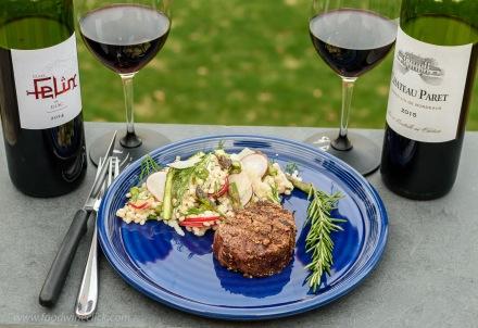 Modern and traditional Côtes de Bordeaux wines with porcini rubbed tenderloin