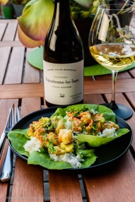Chateau Peybonhomme Blanc with shrimp & avocado wraps