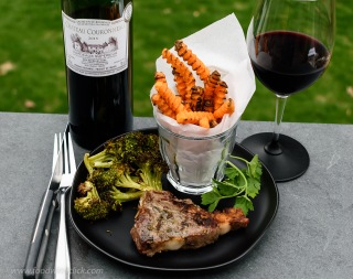 Chateau Couronneau on a weekday evening grill of lamb chops, broccoli and oven baked sweet potato fries