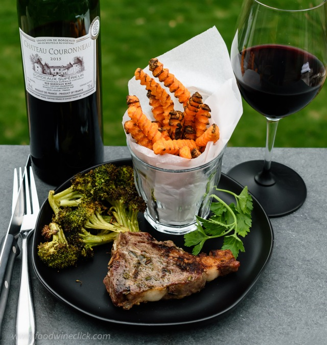 Chateau Couronneau Cotes-de-Bordeaux with grilled lamb chop