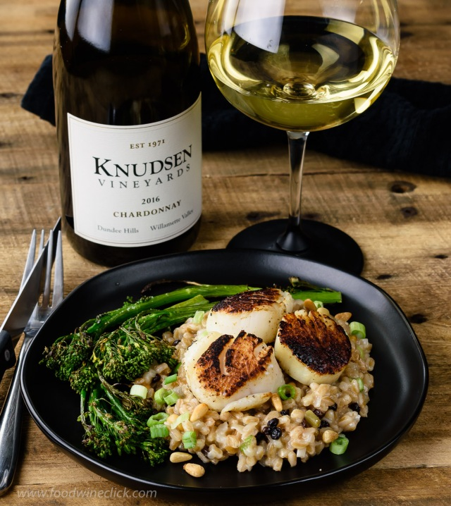 "Knudsen Vineyards Chardonnay paired with seared scallops with farro ""risotto"""
