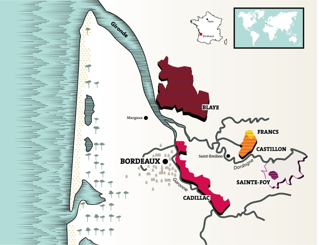 Côtes de Bordeaux map