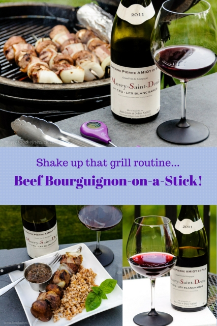 Shake up that grill routine with Beef Bourguignon-on-a-Stick! Recipe at www.foodwineclick.com