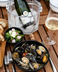 Nothing better than Cremant d'Alsace with a bucket of steamers! Details at www.foodwineclick.com