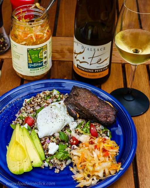 Alsace Gewurztraminer paired with a spicy short rib - quinoa bowl at www.foodwineclick.com