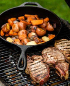 Country ribs, potatoes and carrots on the Primo Jr. grill