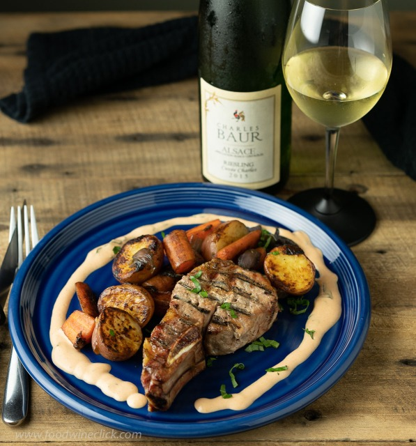 Country Pork Ribs with sauce Nenette served with Alsace Riesling at www.foodwineclick.com