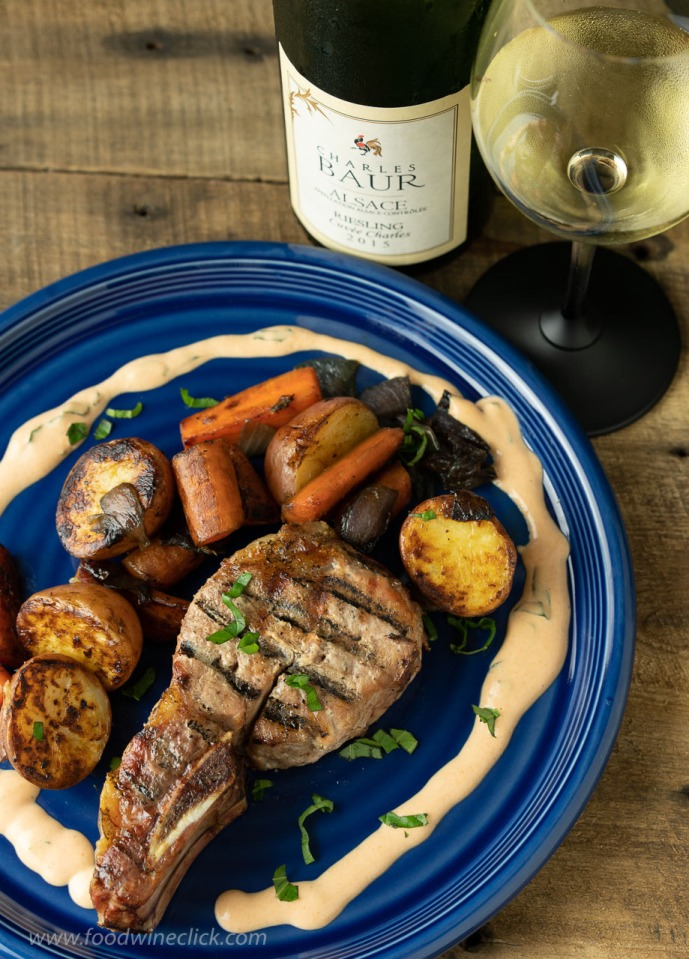 Country ribs with sauce nenette, paired with Alsace Riesling