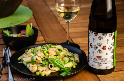 Spring pea pasta with shrimp, paired with Alsace Pinot Blanc
