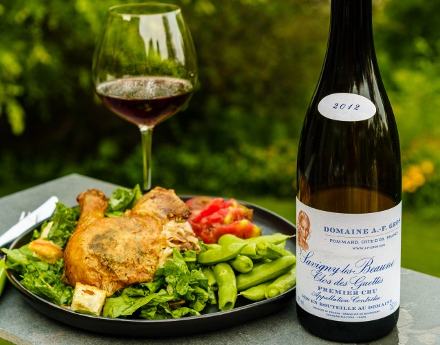 Domaine A.-F. Gros Pinot Noir with Zuni Cafe chicken