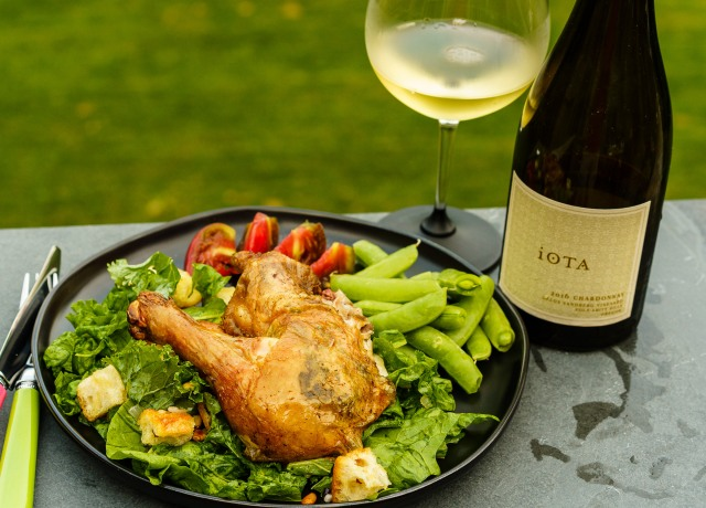 iOTA Cellars estate Chardonna with Zuni Cafe chicken