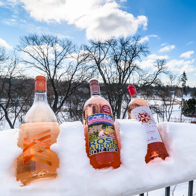 Rosé in the snow in MInnesota
