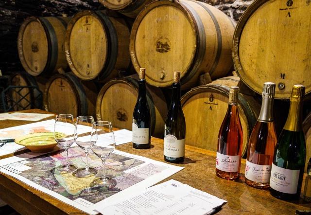 Tasting room in the cellar at Domaine Chevrot & Fils in Bourgogne