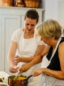 Making the gougères dough/batter
