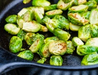 Brussels sprouts pick up a nice bit of char