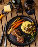 Cahors makes a great pairing for any grilled meat, and the polenta with grilled vegetables just added to the pairing.