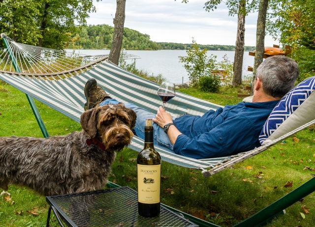 Duckhorn 3 Palms Merlot at the lake in a hammock