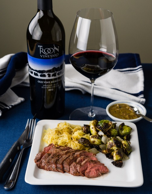 Flat iron steak with Troon Vineyard Meritage wine