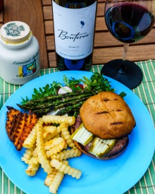 Bonterra Merlot with a grilled hamburger