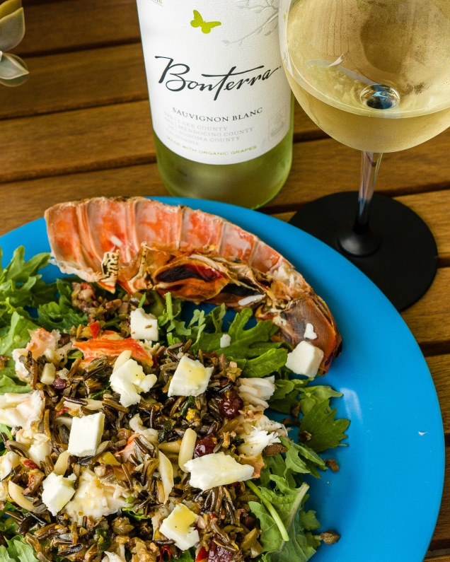 Bontterra Sauvignon Blanc with grilled lobster on a wild rice salad