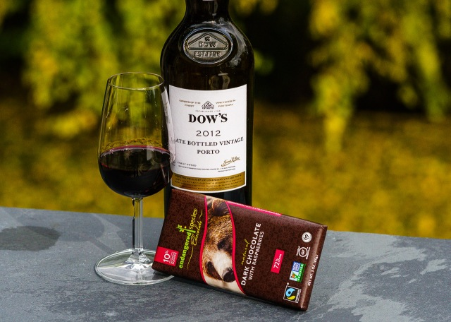 Dark chocolate with raspberries pairs with Dow's LBV Porto