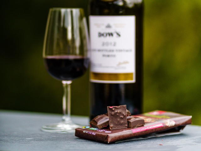 Dark chocolate with raspberries pairs beautifully with LBV Port