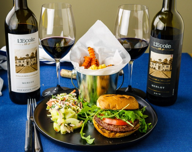 L'Ecole 41 Columbia Valley and Walla Walla Valley Merlots paired with hamburger