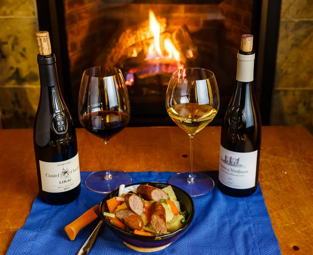 Lirac Southern Rhone wines by the fireplace with a one pot sausage meal.