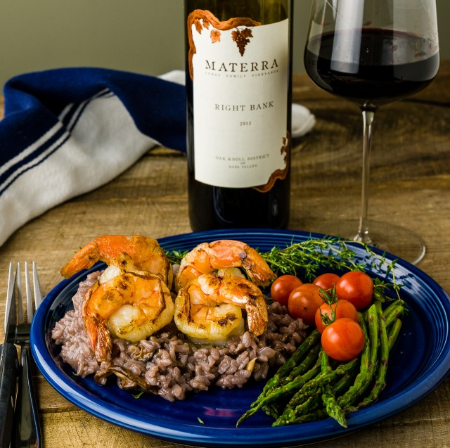 "Materra ""Right Bank"" Napa Valley Merlot with Shrimp & Red Wine Risotto"