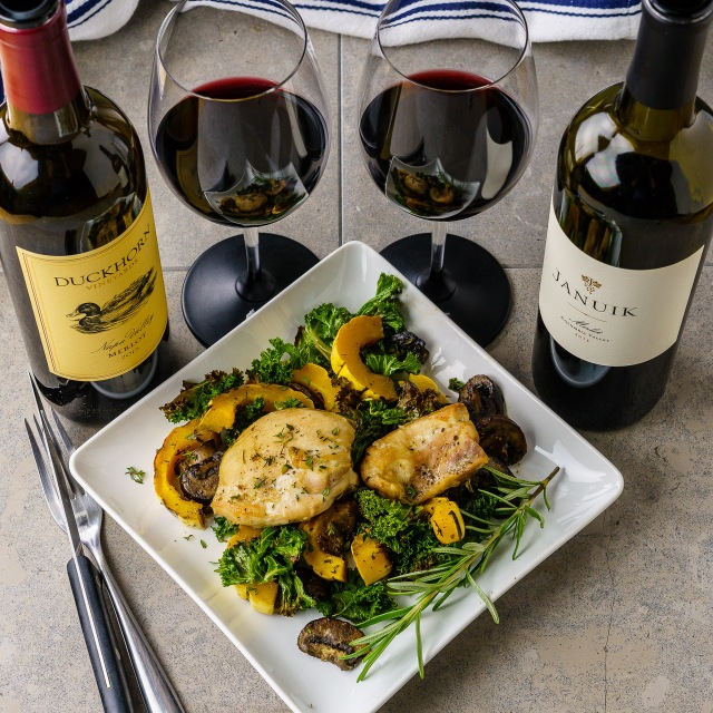 Duckhorn Napa Valley Merlot, Januik Columbia Valley Merlot and a chicken sheet pan dinner