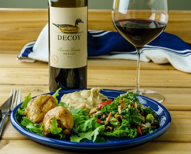 Decoy Sonoma County Merlot with chicken thighs, potatoes and salad