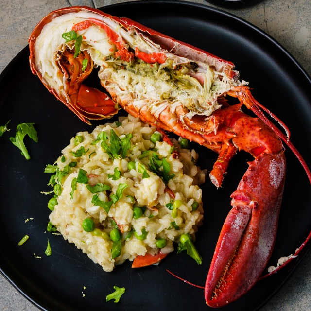 Lobster served two ways: lobster risotto and boiled