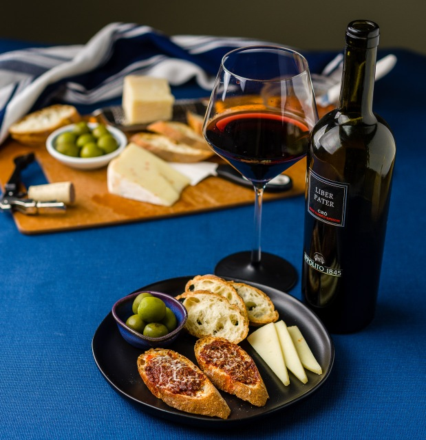 """Cantine Ippolito """"Liber Pater"""" Cirò Rosso Classico Superiore with a regional cheese and charcuterie plate"""