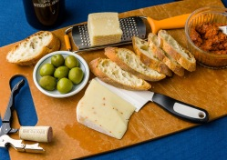 A Calabrian inspired cheese, olive and charcuterie board