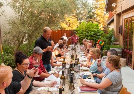 The family hosted our wine bloggers group with a lovely dinner outside highlighted with their wines.